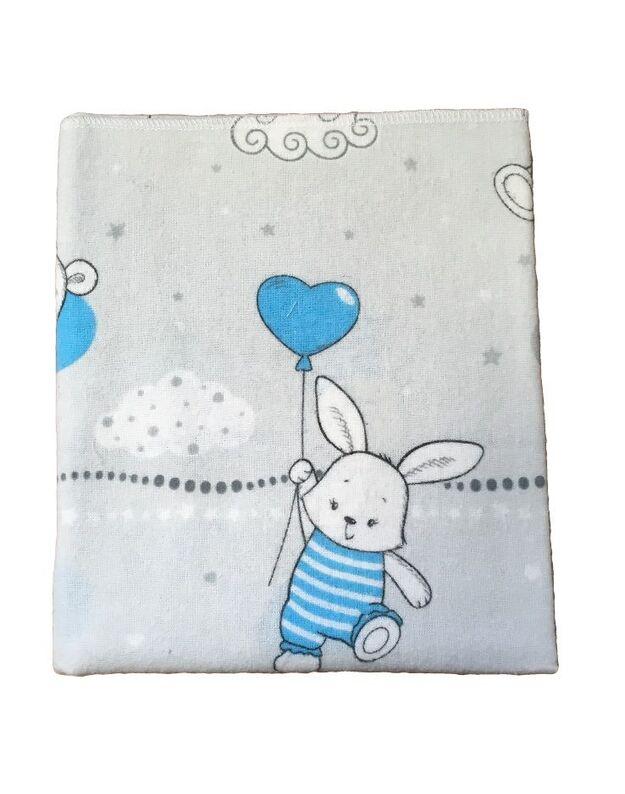 """LORITA Spalvotas flanelinis vystyklas """"Bunny"""" , art. 25"""