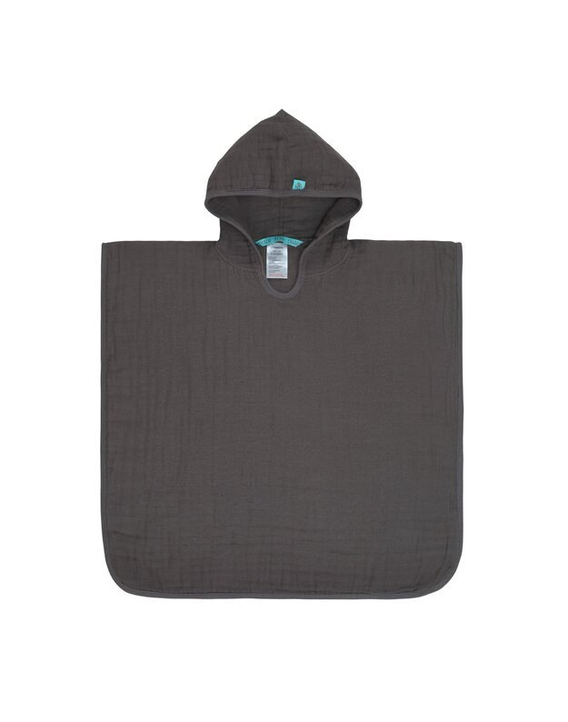 LASSIG muslino rankšluostis - poncho su gobtuvu, pilkas, medvilnė, art. 1312014236