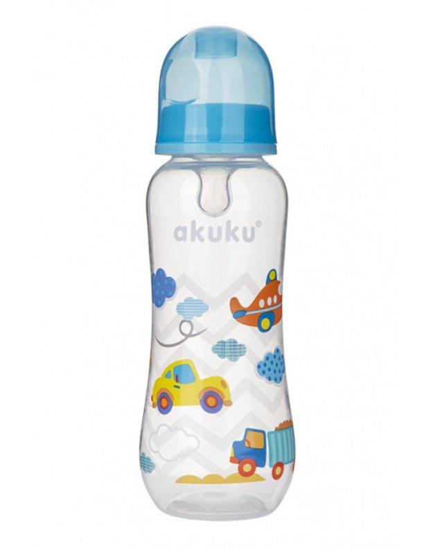 Akuku maitinimo buteliukas 250 ml su silikoniniu žinduku, А1005_BLUE